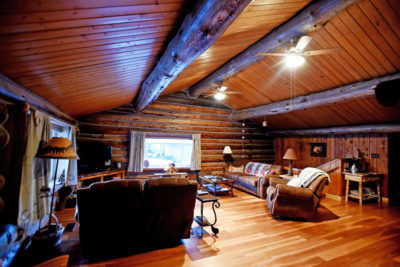 Living Room in Log Cabin Vacation Rental the Chisum Lodge