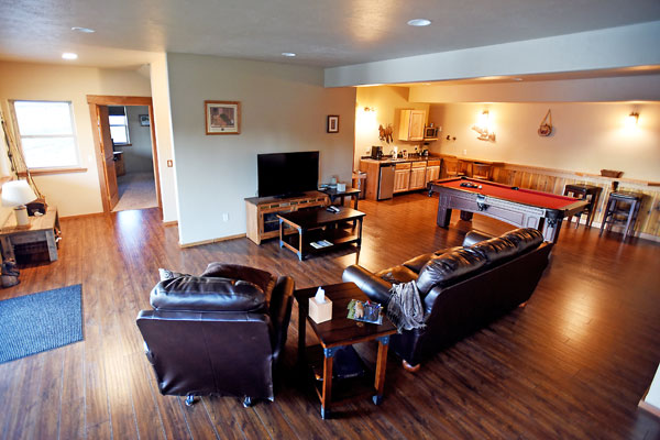 Living Room, Pool Table at Whitefish Vacation Rental,, River View Lodge