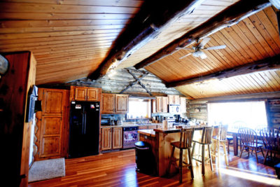 Log Cabin Kitchen in Vacation Rental the Chisum Lodge