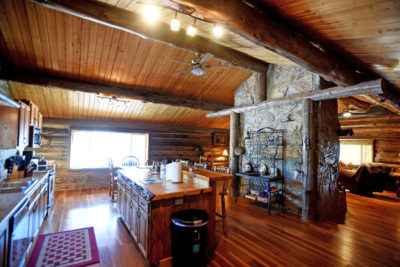 Log Cabin Kitchen at the Chisum Lodge