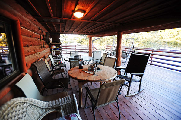 Porch at the Chisum Lodge in Whitefish Montana