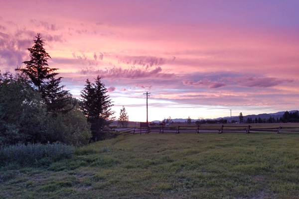 Purple Skies at River Meadow Ranch in Whitefish