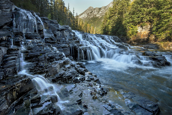 MacDonald Creek Water Falls in Glacier National Park
